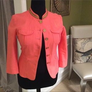 Coral Jacket w/ Gold Beaded Mock Collar by M.Kors